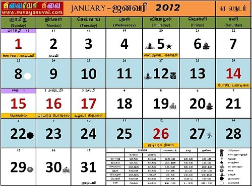 Suvayo Suvai 2012 Calendar PDF Download