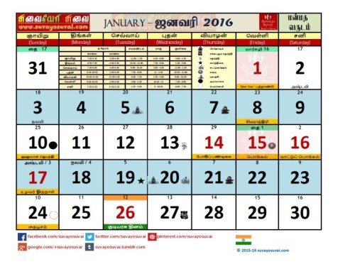 Suvayo Suvai 2016 Calendar PDF Download