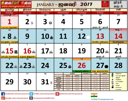 Suvayo Suvai 2017 Calendar PDF Download