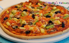 Vegetable Thin Crust Pizza (No Yeast Method)